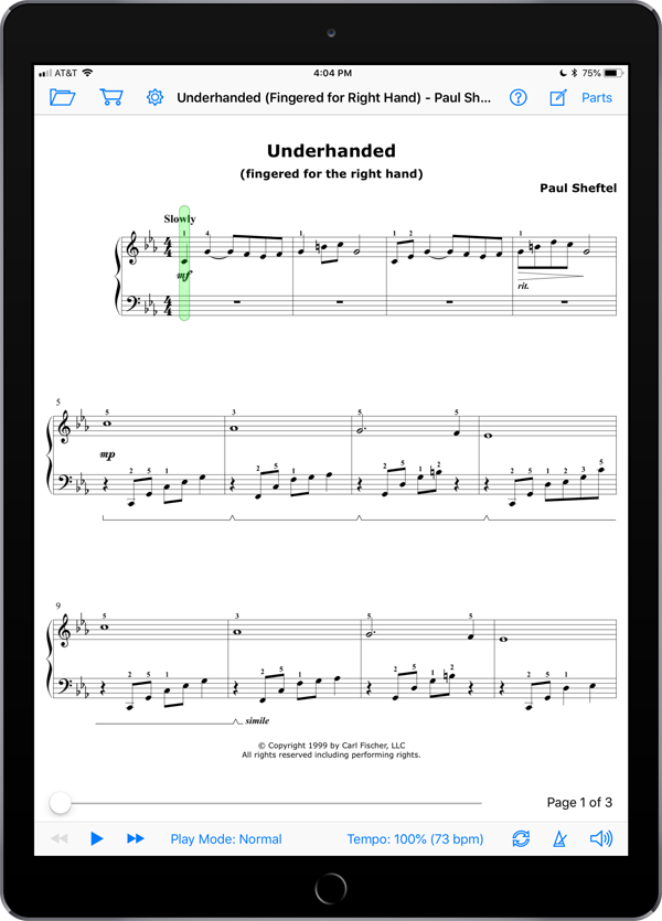 One Piano One Hand by Paul Sheftel  Super Score Sample