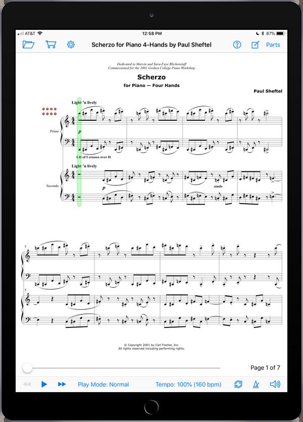 Scherzo for Piano Four Hands by Paul Sheftel  Super Score Sample